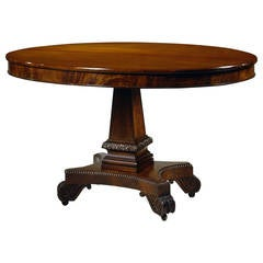 Oval Carved Mahogany Neoclassical Library Table, circa 1820