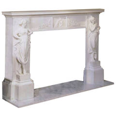 Classical Figural White Marble Mantel Surround, circa 1820