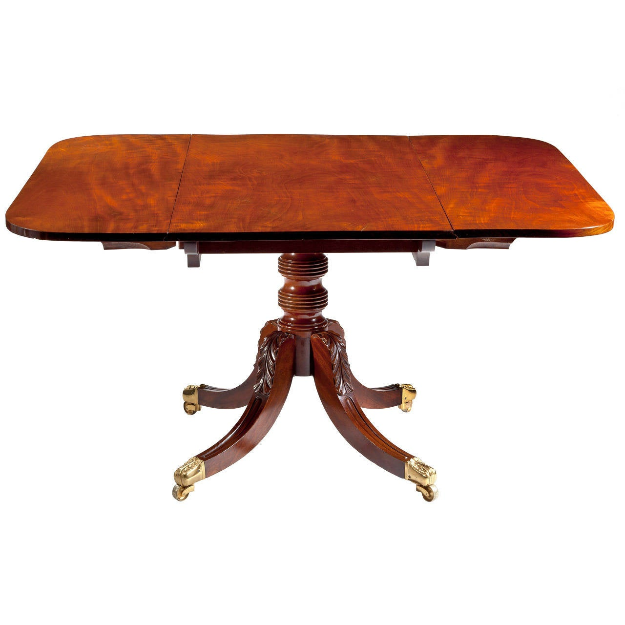 Sheraton Carved Mahogany Drop-Leaf Dining Table, circa 1820