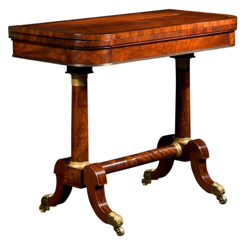 Brass-Mounted Walnut and Ebony Inlaid Parcel-Gilt Mahogany Games Table by Phyfe