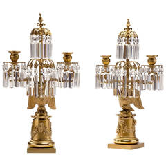 Pair of Regency Lacquered Brass Eagle Base Candelabra, circa 1820