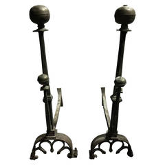 Pair of Wrought Iron and Brass Andirons, circa 1740
