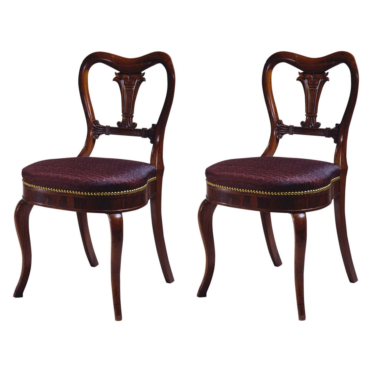 Pair Of Restauration Lotus Carved Rosewood Side Chairs By Duncan Phyfe 1