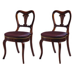 Pair of Restauration Lotus Carved Rosewood Side Chairs by Duncan Phyfe
