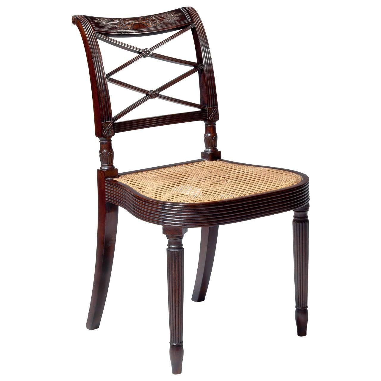 Carved Mahogany Sheraton Side Chair, circa 1807