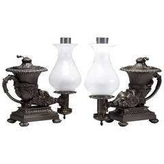 Two William IV Bronze Argand Lamps in the Form of Ancient Rhytons, circa 1835