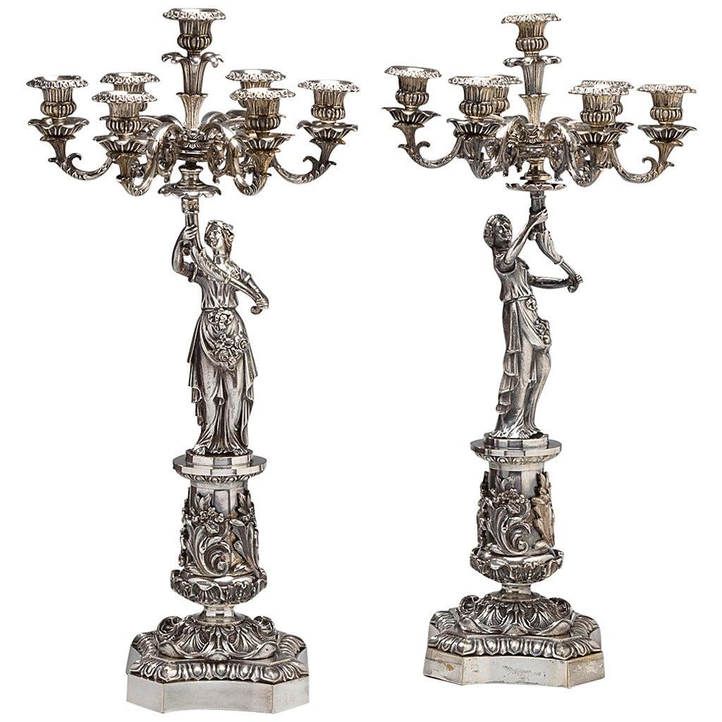 Pair of Classical Silvered Bronze Seven-Light Figural Candelabras, circa 1840