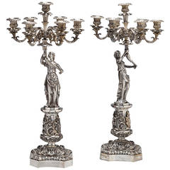 Pair of Classical Silvered Bronze Seven-Light Figural Candelabras, circa 1840