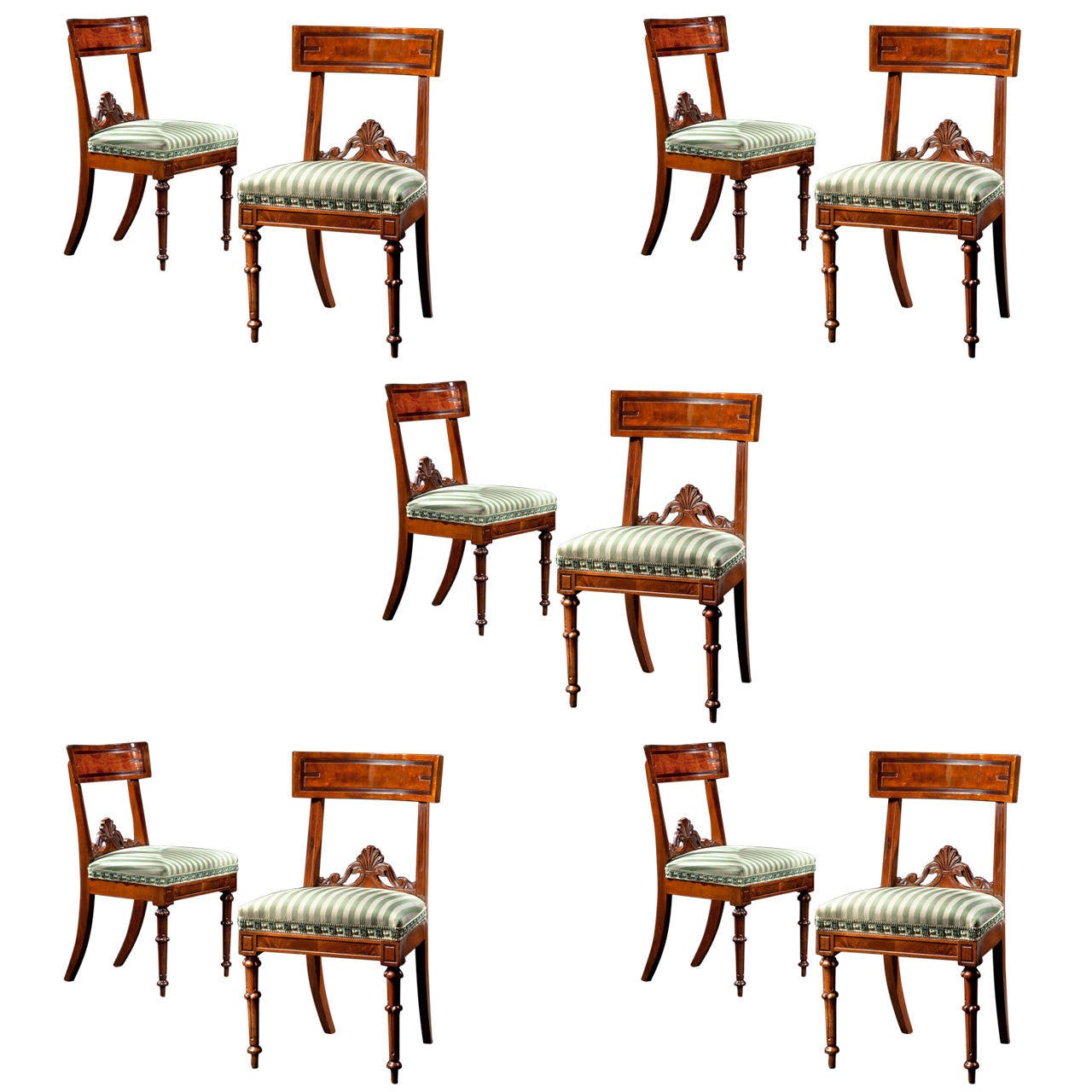 Set of ten assembled carved mahogany dining chairs circa for Todays furniture philadelphia