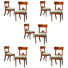 Set of Ten Assembled Carved Mahogany Dining Chairs, circa 1835