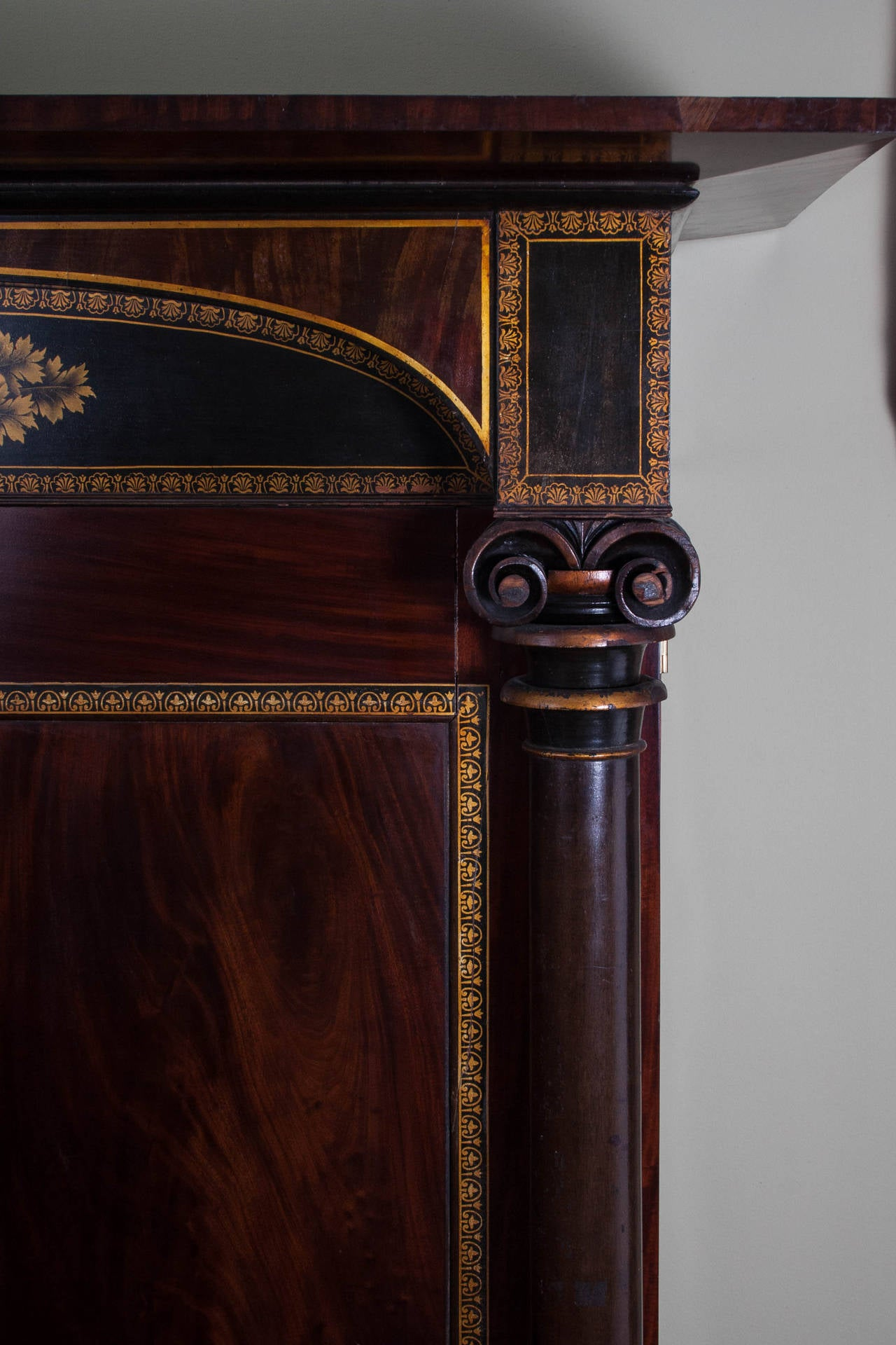 gilt stenciled carved mahogany armoire 2 antique mahogany armoire