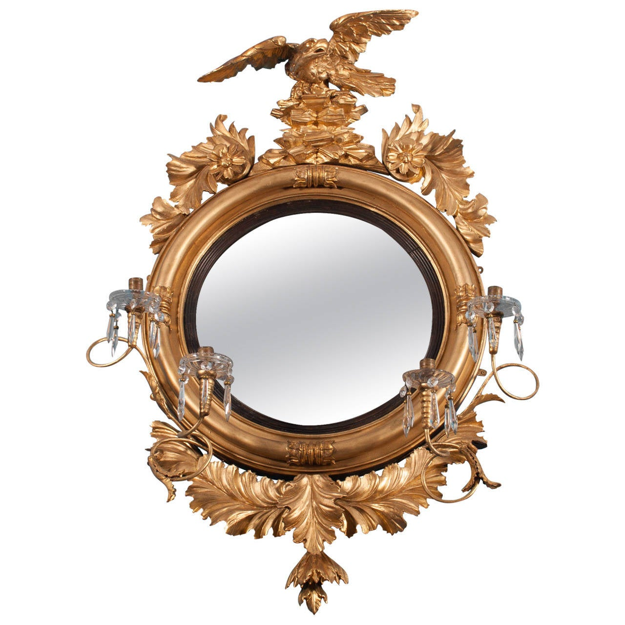 Carved giltwood convex girandole mirror for sale at 1stdibs for Mirrors for sale
