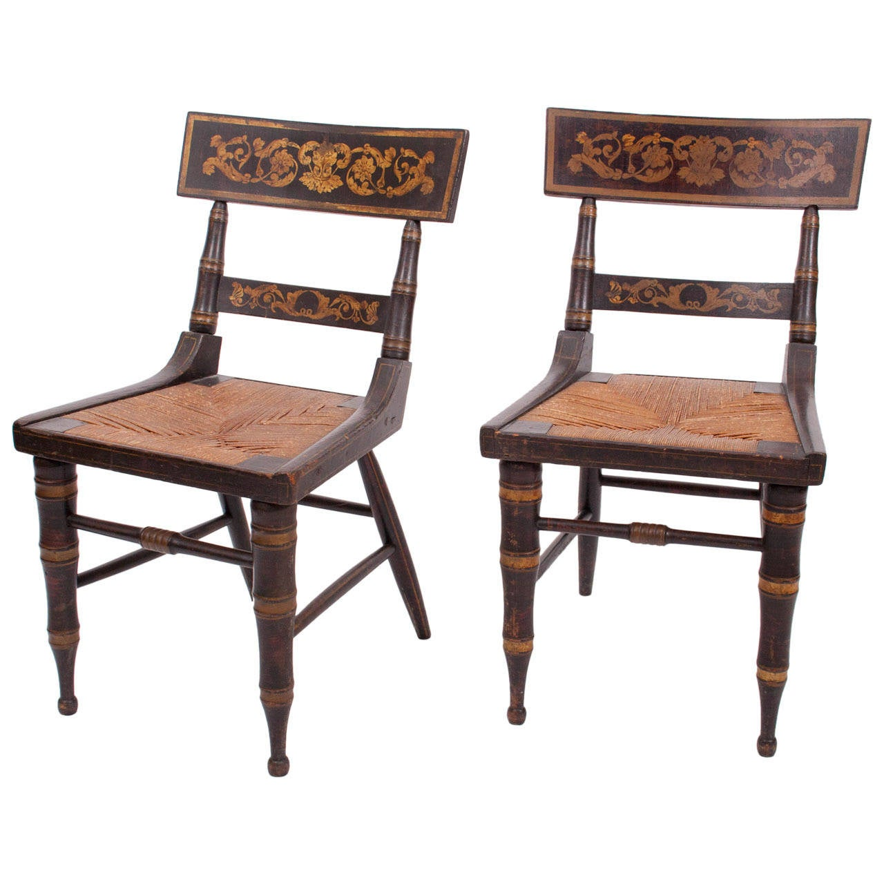 Pair Of Faux Grained And Gilt Stencilled Klismos Chairs 1