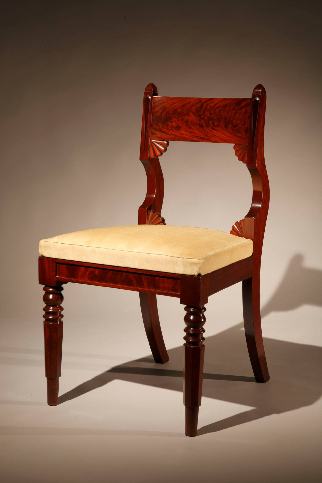Set of 12 Mahogany Classical Dining Chairs circa 1830 For Sale at