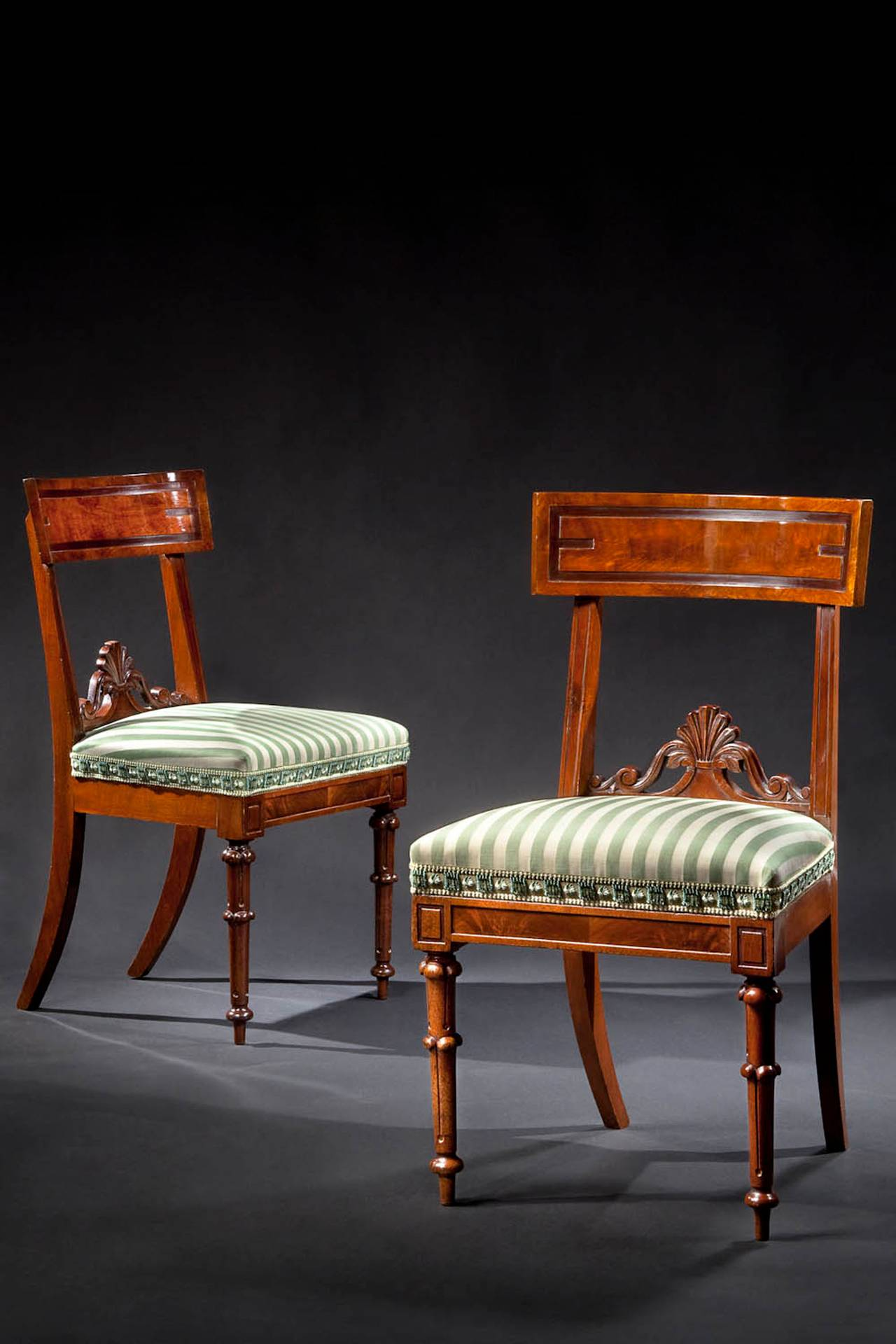 Set Of Ten Assembled Carved Mahogany Dining Chairs Circa 1835 For