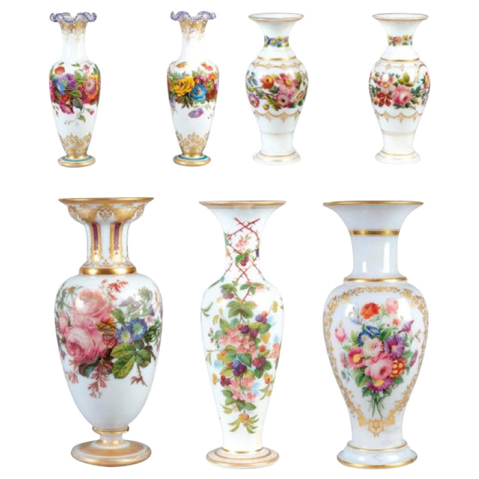 Jeff Zimmerman Furniture 19th Century Set of Seven Opaline Garnitures at 1stdibs