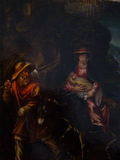 The Flight into Egypt - 17th Century, Old Master, Figurative Oil Painting
