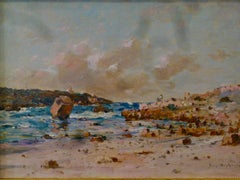 Une côte rocheuse en Normandie - 19th Century, Impressionist Landscape Painting