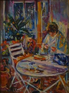 Lectrice dans un jardin ensoleillé - 20th Century, Figurative Oil Painting