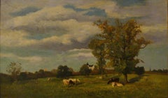 Vaches dans un paysage de printemps près d'un chateau - 19th Century Landscape