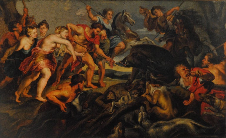 The Hunting of the Calydonian Boar - 17th Century Figurative Oil Painting