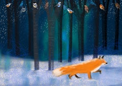 Night Fox, signed, original, vibrant, great reviews, christmas