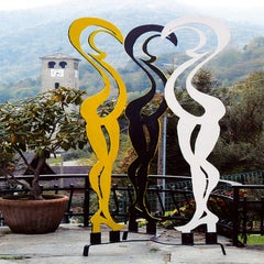 Le Cygne - 21st Century Contemporary Painted Metal Outdoor Monumental Sculpture