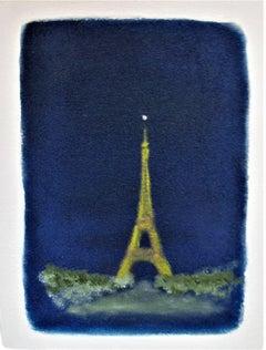 Dreams. The Eiffel Tower, Paris - 21st Century, Oil Paint, Conceptual Painting