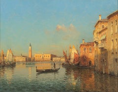 Venetian Scene by Marc Aldine - Mid-20th Century, Oil Paint, Landscape Painting