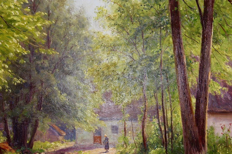 Atmospheric River Landscape Painting by Walter Moras. 19th Century, Oil Paint 4
