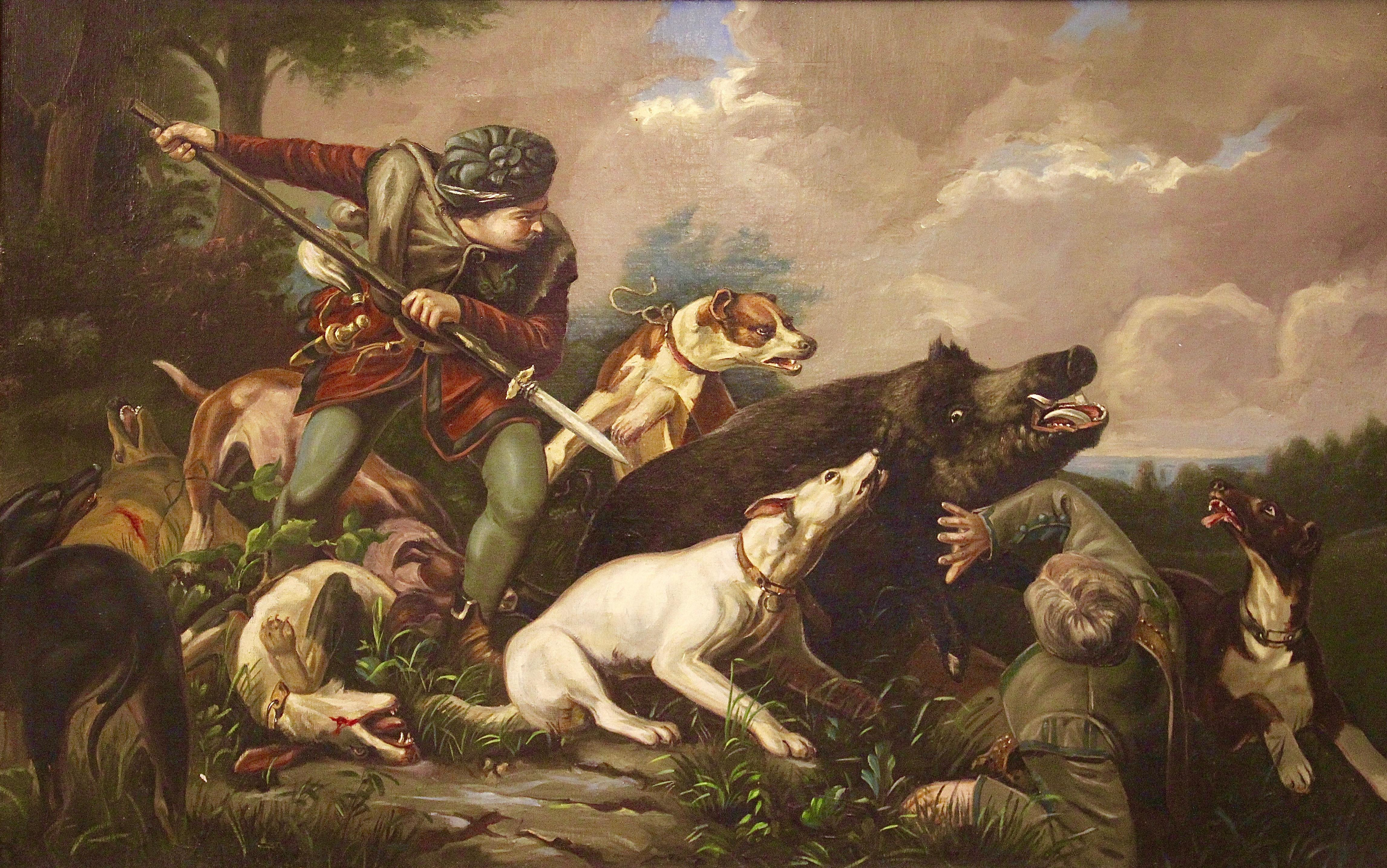 Figurative Painting, Large, Oil on Canvas. 19th Century. Hunting scene.