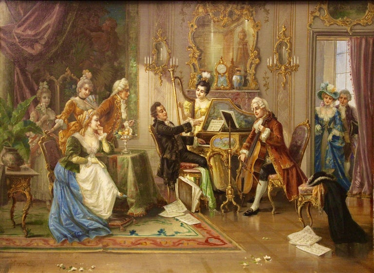 Beautiful, large and very decorative oil painting. Oil on canvas. Signed lower left. H. Pinggera. (Heinz Pinggera)  Salon scene with playing trio and rich figures staffage in the costume of the Rococo.  The painting is very finely painted, down to