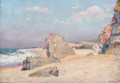 A Figure on the Beach - Early 20th Century, Impressionist, Pastel, Seascape
