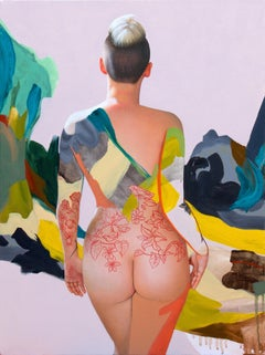 Kim - Contemporary, Nude Painting, Oil Paint, 21st Century, Figurative, Yellow