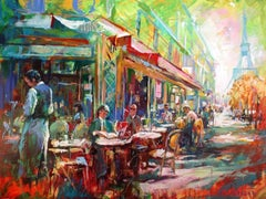 French Cafe - Landscape Painting by Jos Coufreur, Acrylic Paint, 21st Century