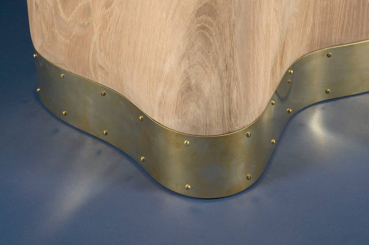 Onde table. Mattia Bonetti.  Cat-Berro Edition 2006 French brushed oakwood. Polished nickel-plated inlaid brass.  Measures: H 29.5'', L 71'', D 35''. H 75cm, L 180 cm, P 88 cm.  Signed piece of a limited edition of 8 + 2 AP + 2P. Delivery time: 10