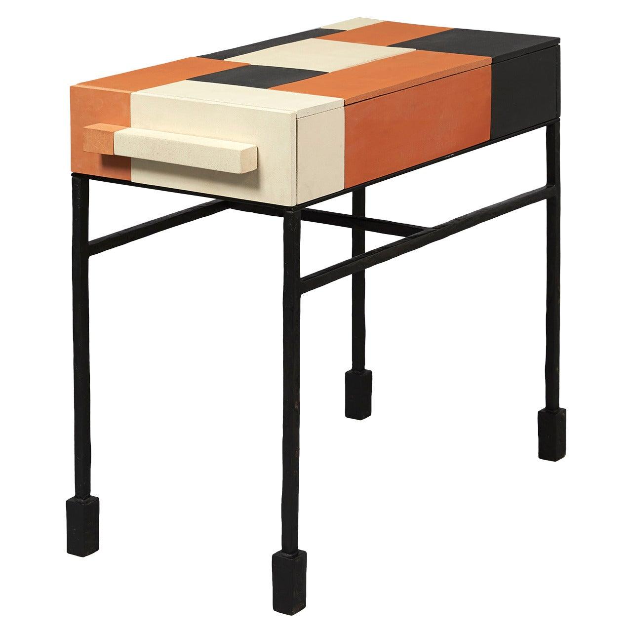 Terracotta Side Table by Mattia Bonetti. In stock