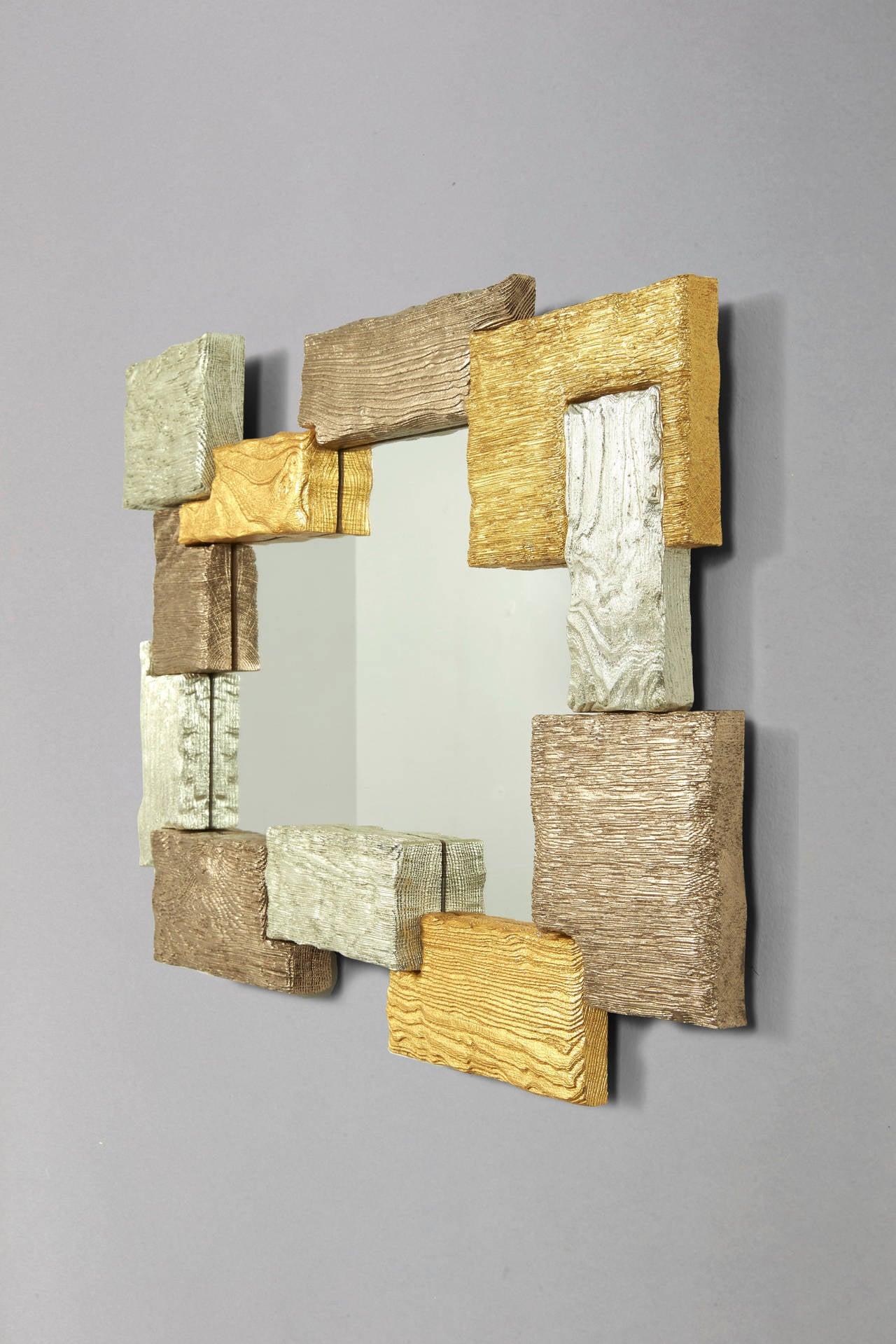 MUR Cat-Berro edition 2013. Mirror. Scarified oak and elmwood. Gold leaves. L 19