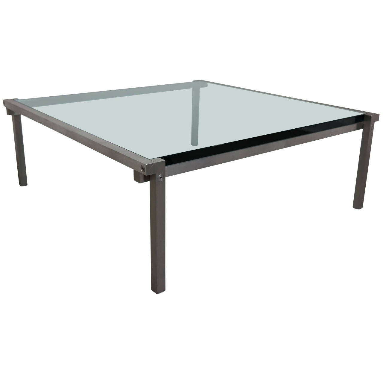 Solid aluminum and glass top architectural coffee table at for Architectural coffee table