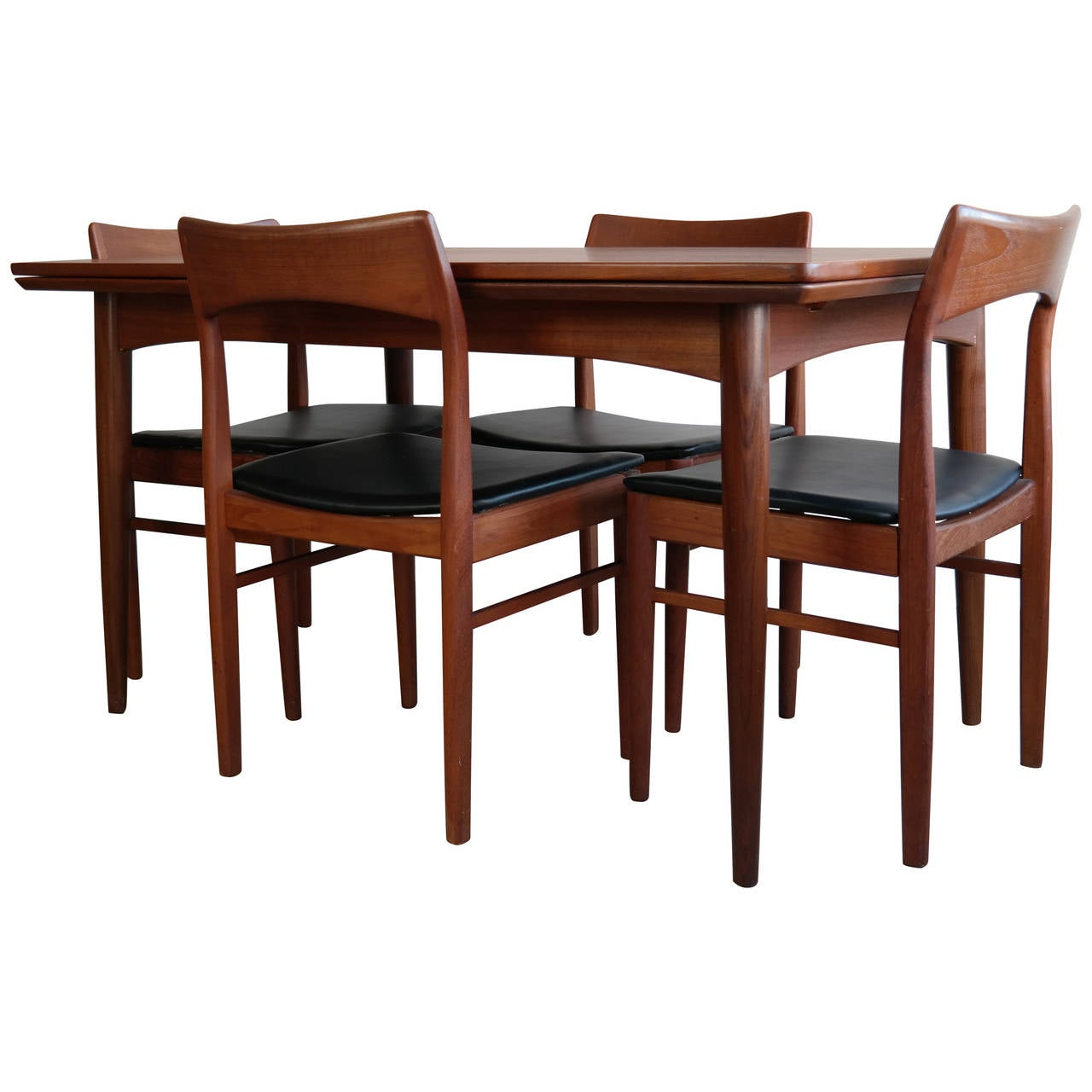 Danish modern dining set in teak at 1stdibs for Modern dining table and chairs set