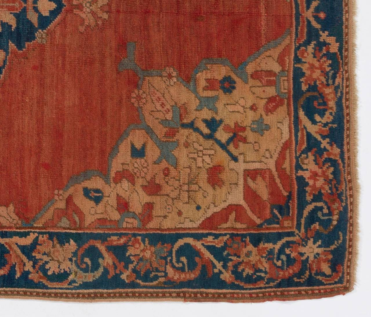 antique york beige page oushak blau turkish new by rugs leslie doris rug botanical