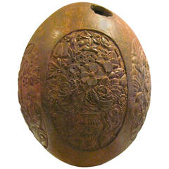 Rare Indo-Portuguese Carved Iconographic Coconut