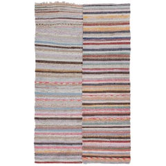 Vintage Turkish Striped Hand-woven Cotton Kilim (Flat-weave)