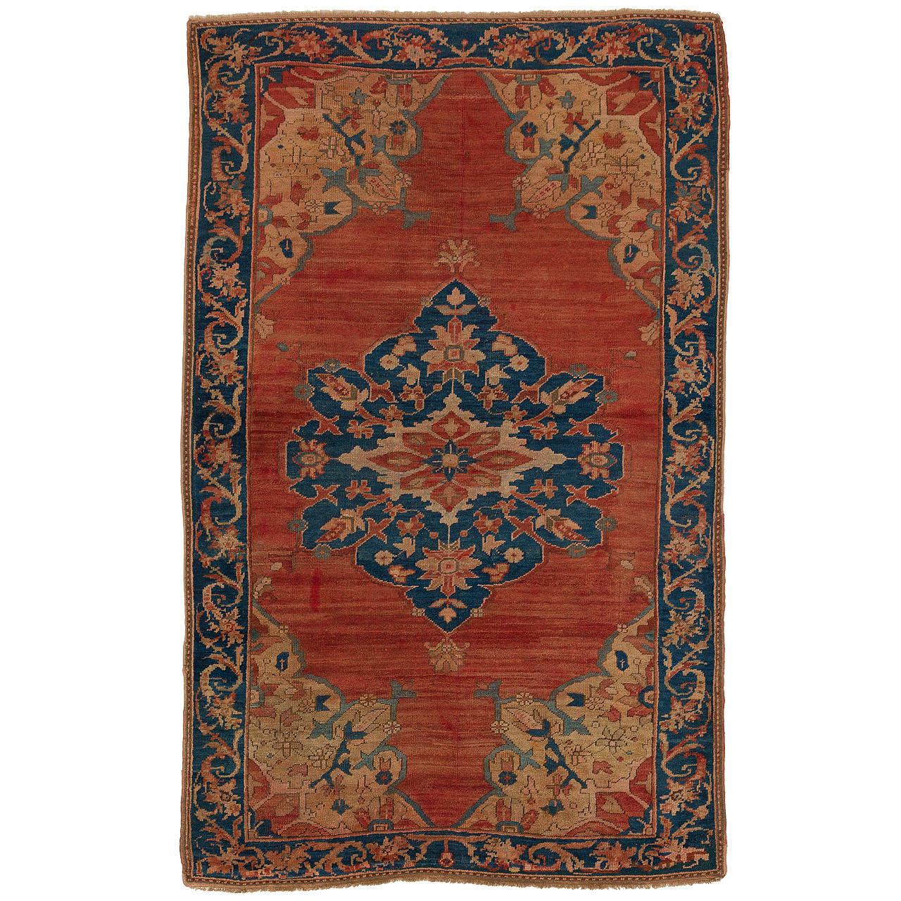Antique Turkish Megri Rug In Terracotta And Blue Colors 1