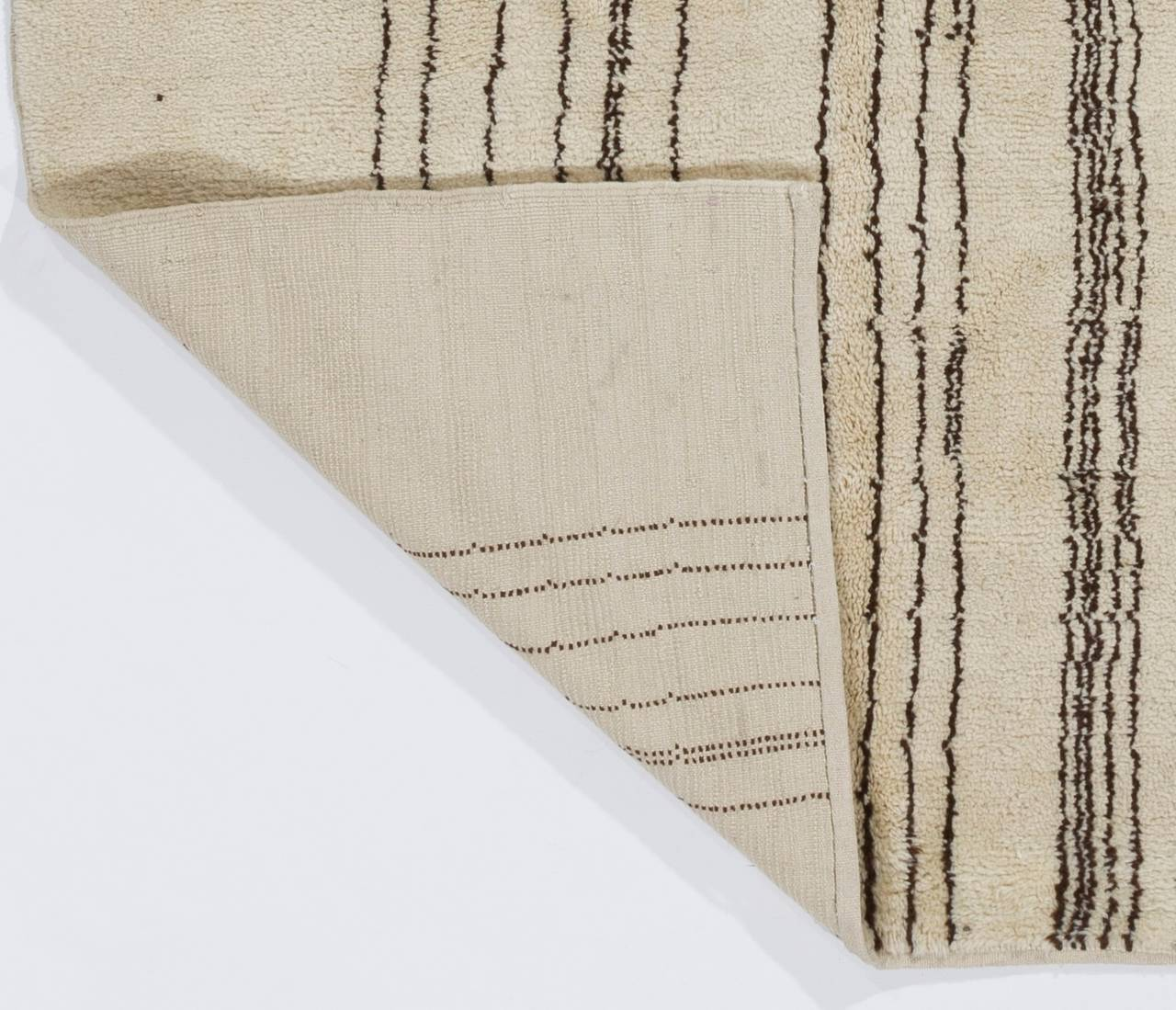 Modern Moroccan Wool Rug with Natural Undyed Ivory and Brown Wool 4