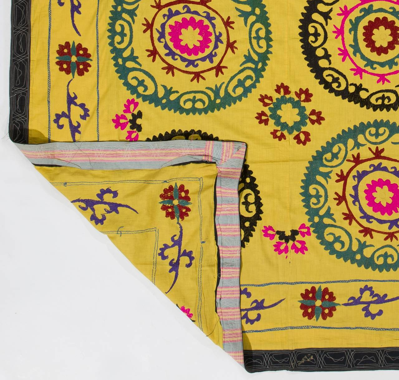 Vintage Yellow Suzani Embroidery Wall Hanging or Bed Cover For Sale ...