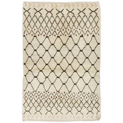 Moroccan Rug in Natural Ivory and Brown Wool