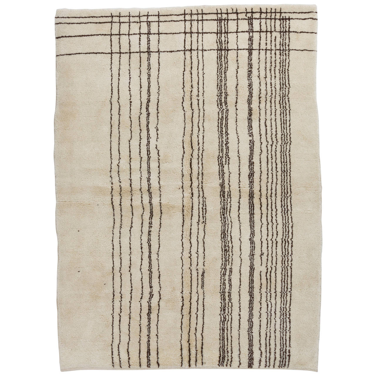 Modern Moroccan Wool Rug with Natural Undyed Ivory and Brown Wool For Sale