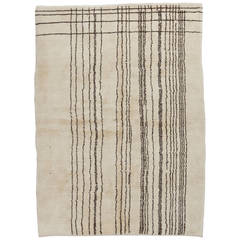Modern Moroccan Wool Rug with Natural Undyed Ivory and Brown Wool