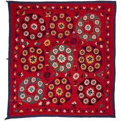 Vintage Central Asian Embroidered Wall Hanging, Bed Cover